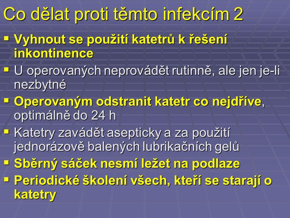 Co dělat proti těmto infekcím 2  Vyhnout se použití katetrů k řešení inkontinence  U operovaných neprovádět rutinně, ale jen je-li nezbytné  Operov