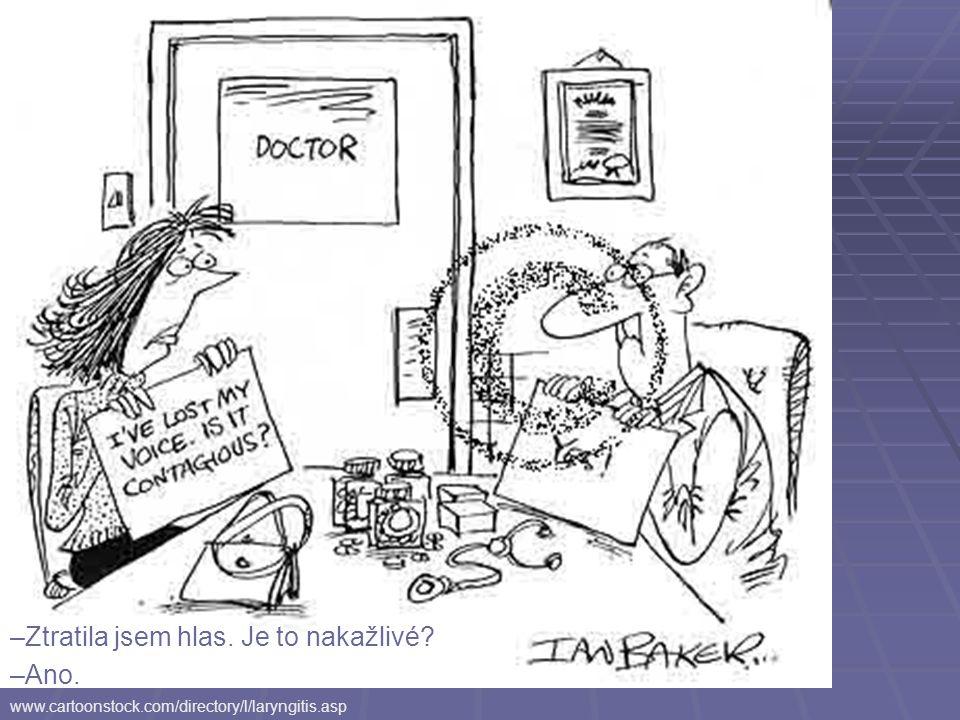 www.cartoonstock.com/directory/l/laryngitis.asp –Ztratila jsem hlas. Je to nakažlivé? –Ano.