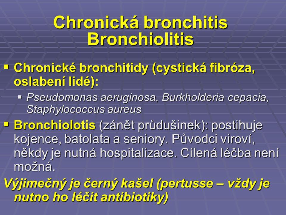 Chronická bronchitis Bronchiolitis  Chronické bronchitidy (cystická fibróza, oslabení lidé):  Pseudomonas aeruginosa, Burkholderia cepacia, Staphylo