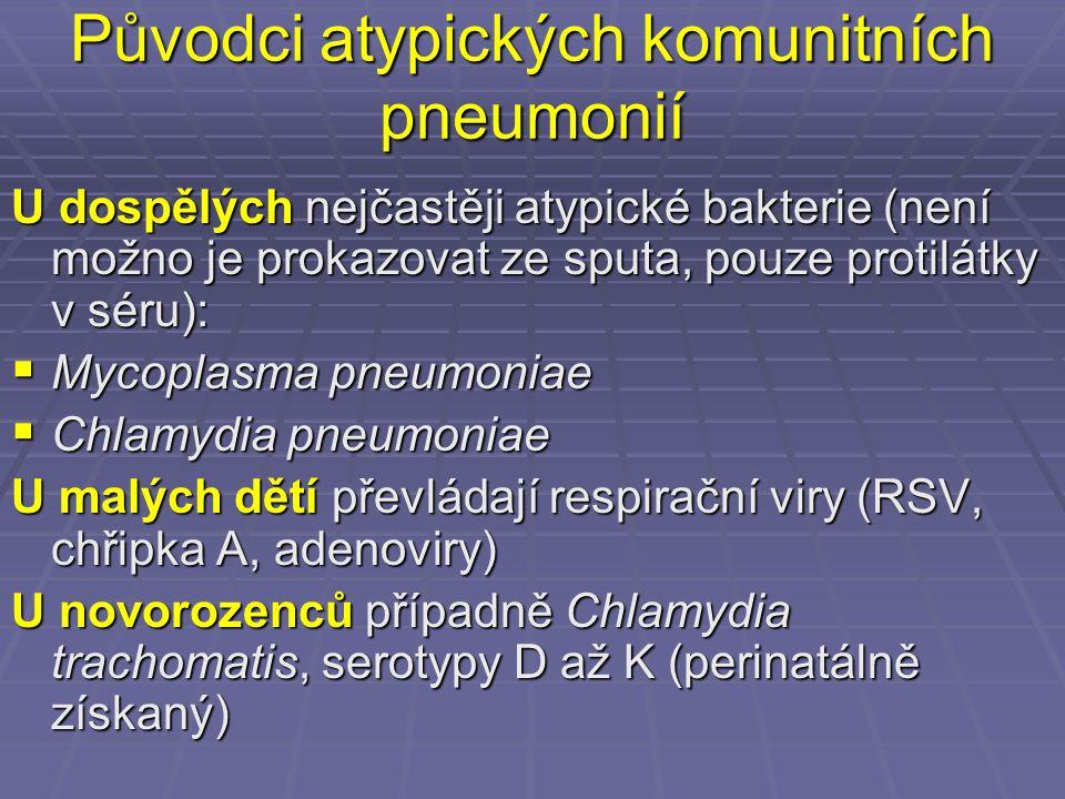 Původci atypických komunitních pneumonií U dospělých nejčastěji atypické bakterie (není možno je prokazovat ze sputa, pouze protilátky v séru):  Myco