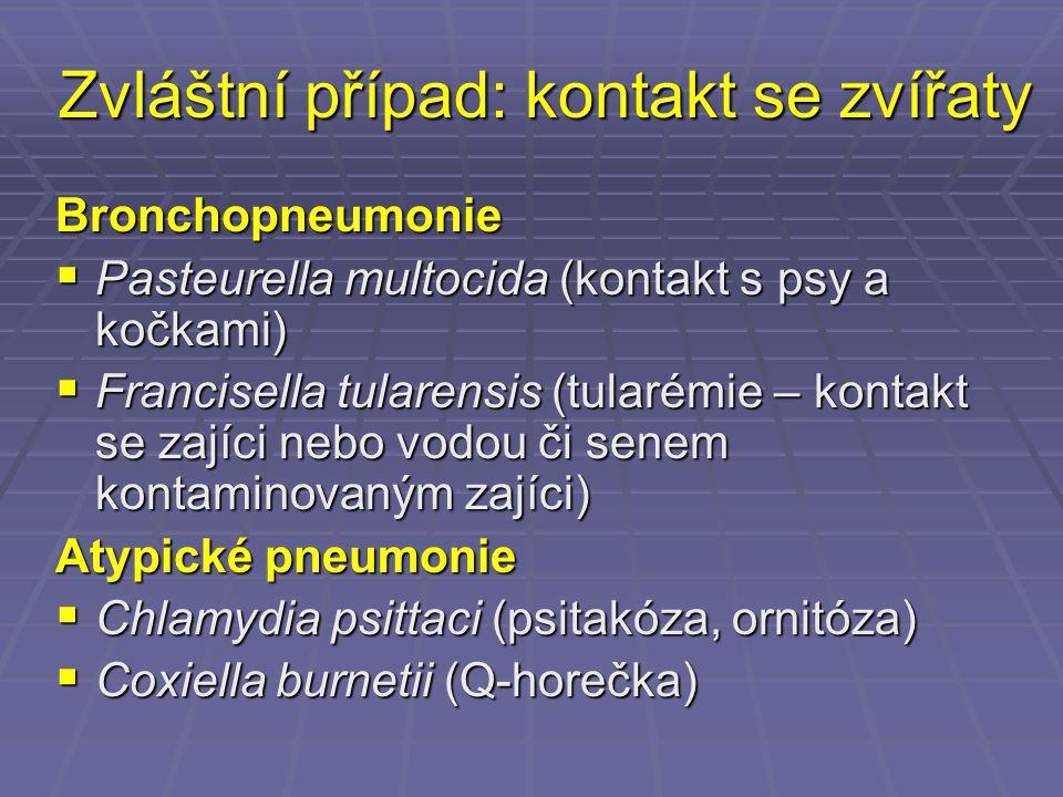 Zvláštní případ: kontakt se zvířaty Bronchopneumonie  Pasteurella multocida (kontakt s psy a kočkami)  Francisella tularensis (tularémie – kontakt s