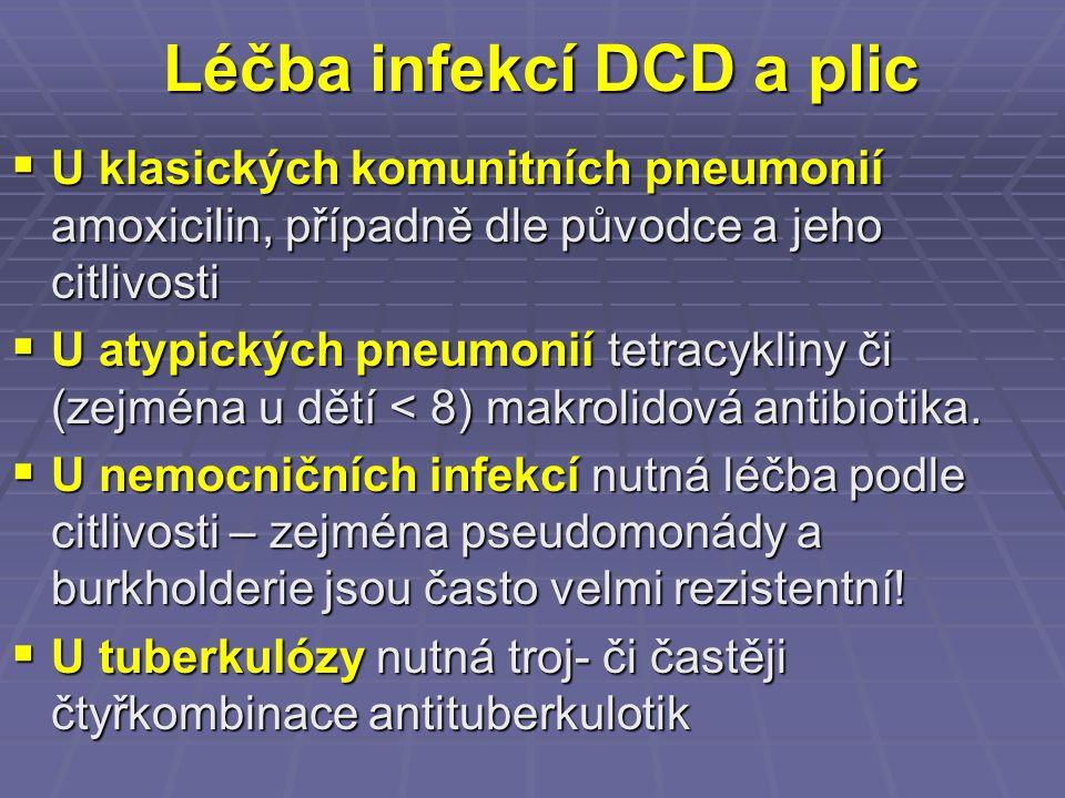 Léčba infekcí DCD a plic  U klasických komunitních pneumonií amoxicilin, případně dle původce a jeho citlivosti  U atypických pneumonií tetracykliny