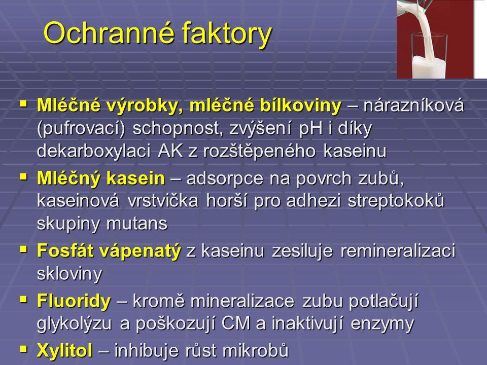 Ochranné faktory  Mléčné výrobky, mléčné bílkoviny – nárazníková (pufrovací) schopnost, zvýšení pH i díky dekarboxylaci AK z rozštěpeného kaseinu  M