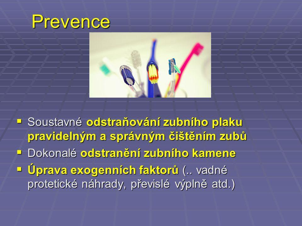 Prevence  Soustavné odstraňování zubního plaku pravidelným a správným čištěním zubů  Dokonalé odstranění zubního kamene  Úprava exogenních faktorů