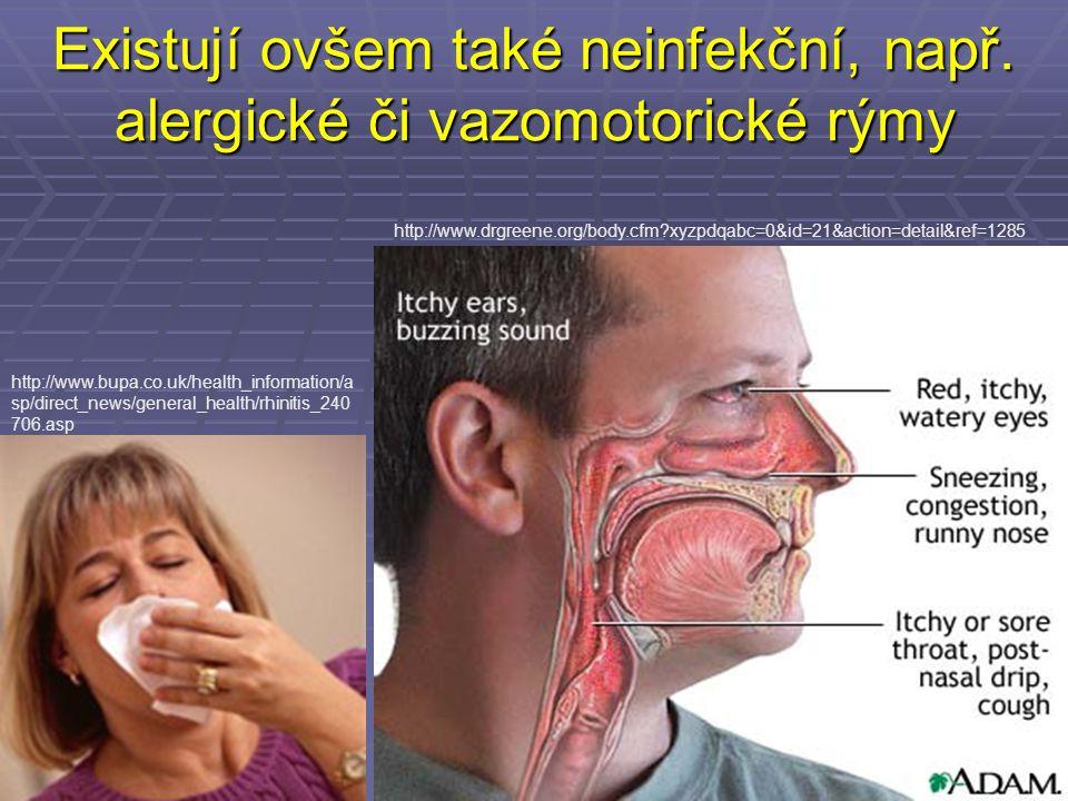 Existují ovšem také neinfekční, např. alergické či vazomotorické rýmy http://www.bupa.co.uk/health_information/a sp/direct_news/general_health/rhiniti