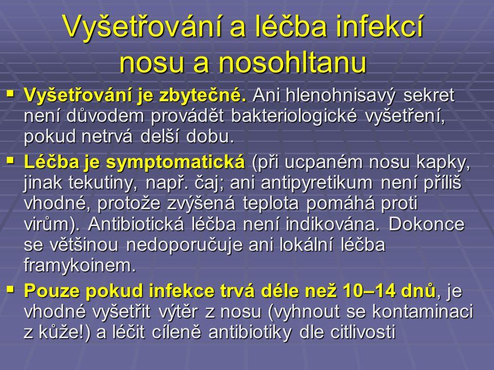 Léčba průjmů  Léčba průjmových onemocnění není přímo závislá na původci (s výjimkou parazitárních průjmů, kde se užívají antiparazitární látky)  Hlavní je zavodnění a péče o celkový stav  Antibiotika se ani u bakteriálních průjmů nepoužívají, protože aktuální stav zlepšují jen nepatrně, zato ale podstatně prodlužují dobu, po kterou pacient vylučuje např.