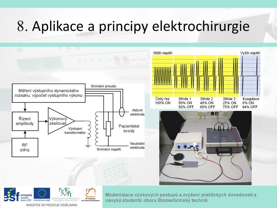 Modernizace výukových postupů a zvýšení praktických dovedností a návyků studentů oboru Biomedicínský technik 8. Aplikace a principy elektrochirurgie