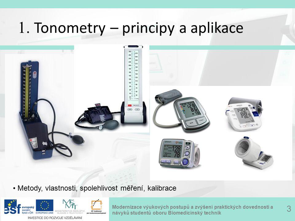 Modernizace výukových postupů a zvýšení praktických dovedností a návyků studentů oboru Biomedicínský technik 1. Tonometry – principy a aplikace 3 Meto