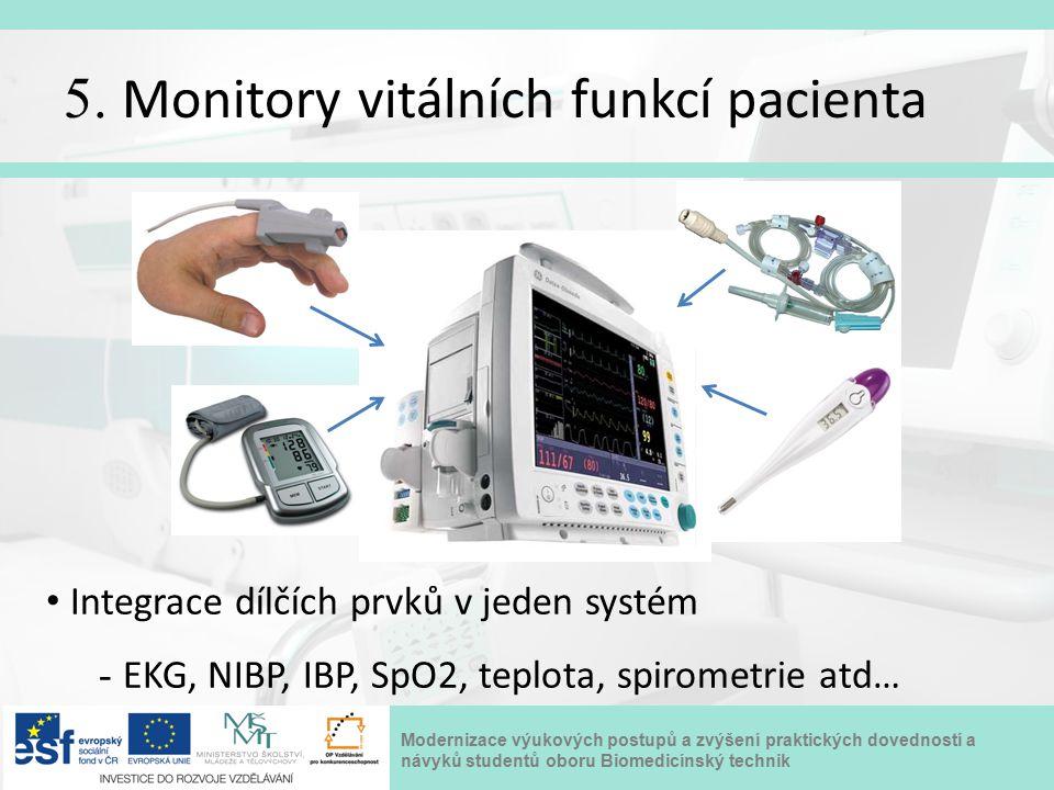Modernizace výukových postupů a zvýšení praktických dovedností a návyků studentů oboru Biomedicínský technik 5. Monitory vitálních funkcí pacienta Int