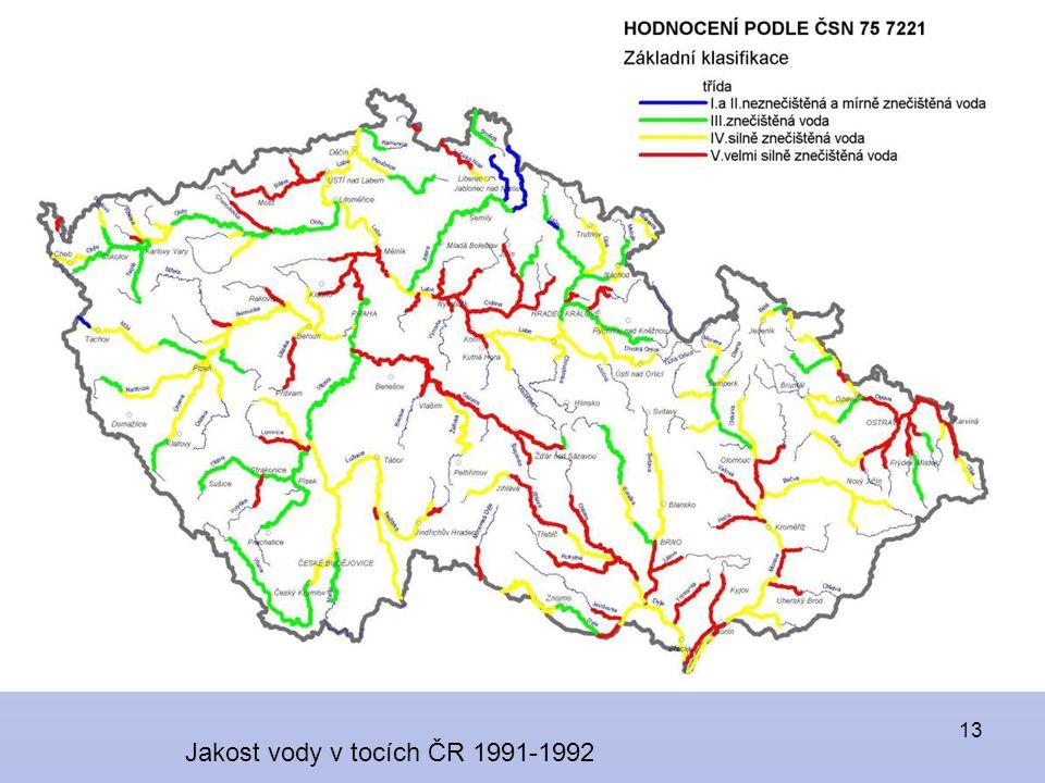 13 Jakost vody v tocích ČR 1991-1992