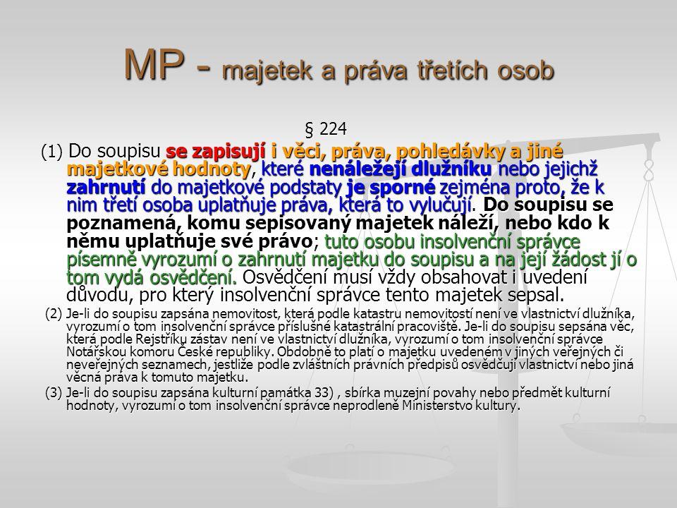 MP - majetek a práva třetích osob § 224 (1) Do soupisu se zapisují i věci, práva, pohledávky a jiné majetkové hodnoty, které nenáležejí dlužníku nebo jejichž zahrnutí do majetkové podstaty je sporné zejména proto, že k nim třetí osoba uplatňuje práva, která to vylučují.