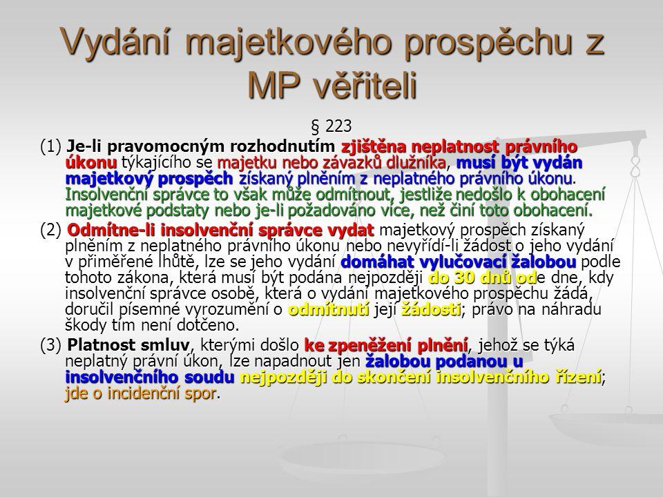 Vydání majetkového prospěchu z MP věřiteli § 223 (1) Je-li pravomocným rozhodnutím zjištěna neplatnost právního úkonu týkajícího se majetku nebo závazků dlužníka, musí být vydán majetkový prospěch získaný plněním z neplatného právního úkonu.