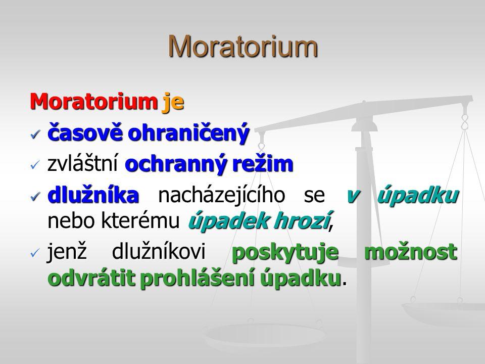 Moratorium Moratorium je časově ohraničený časově ohraničený zvláštní ochranný režim zvláštní ochranný režim dlužníka nacházejícího se v úpadku nebo kterému úpadek hrozí, dlužníka nacházejícího se v úpadku nebo kterému úpadek hrozí, jenž dlužníkovi poskytuje možnost odvrátit prohlášení úpadku.