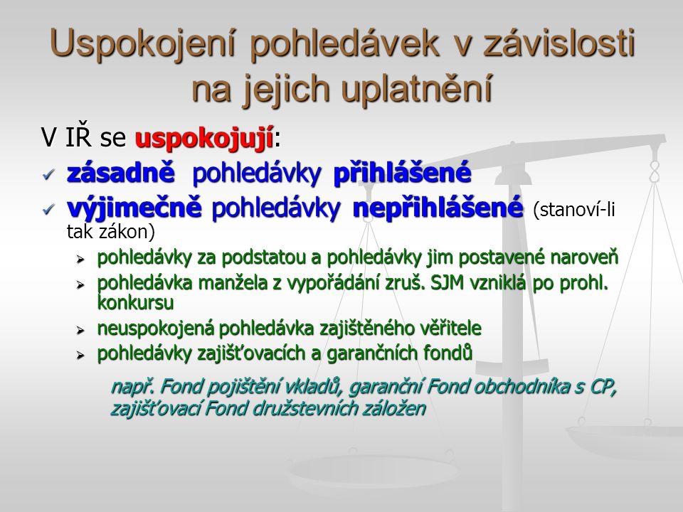 Uspokojení pohledávek v závislosti na jejich uplatnění V IŘ se uspokojují: zásadně pohledávky přihlášené zásadně pohledávky přihlášené výjimečně pohledávky nepřihlášené (stanoví-li tak zákon) výjimečně pohledávky nepřihlášené (stanoví-li tak zákon)  pohledávky za podstatou a pohledávky jim postavené naroveň  pohledávka manžela z vypořádání zruš.