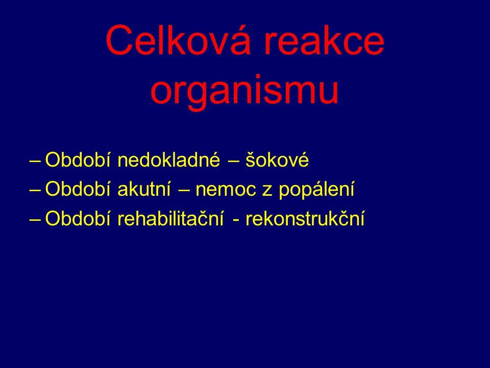 Celková reakce organismu –Období nedokladné – šokové –Období akutní – nemoc z popálení –Období rehabilitační - rekonstrukční