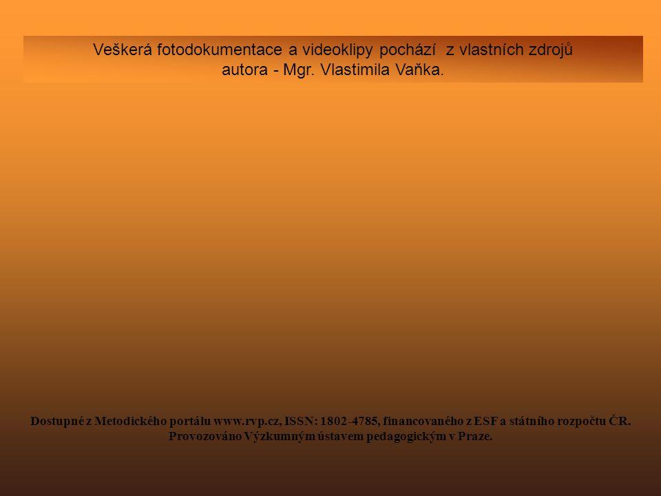 Veškerá fotodokumentace a videoklipy pochází z vlastních zdrojů autora - Mgr. Vlastimila Vaňka. Dostupné z Metodického portálu www.rvp.cz, ISSN: 1802-