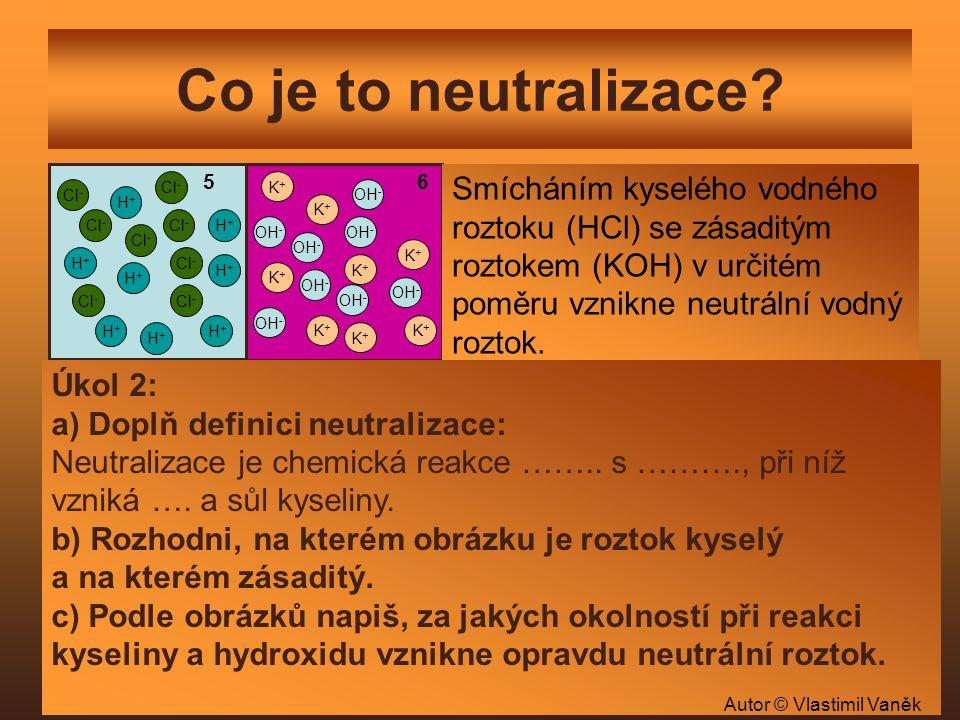 Co je to neutralizace? 5 6 K+K+ K+K+ K+K+ K+K+ OH - H+H+ H+H+ H+H+ H+H+ Cl - H+H+ H+H+ H+H+ H+H+ OH - K+K+ K+K+ K+K+ K+K+ Cl - Smícháním kyselého vodn