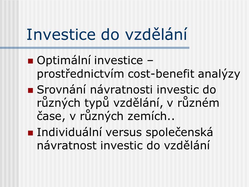 Investice do vzdělání Optimální investice – prostřednictvím cost-benefit analýzy Srovnání návratnosti investic do různých typů vzdělání, v různém čase