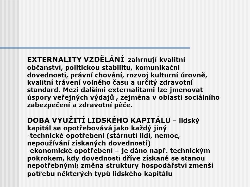 EXTERNALITY VZDĚLÁNÍ zahrnují kvalitní občanství, politickou stabilitu, komunikační dovednosti, právní chování, rozvoj kulturní úrovně, kvalitní tráve