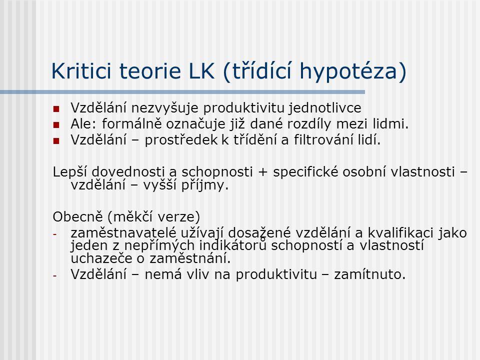 Kritici teorie LK (třídící hypotéza) Vzdělání nezvyšuje produktivitu jednotlivce Ale: formálně označuje již dané rozdíly mezi lidmi. Vzdělání – prostř