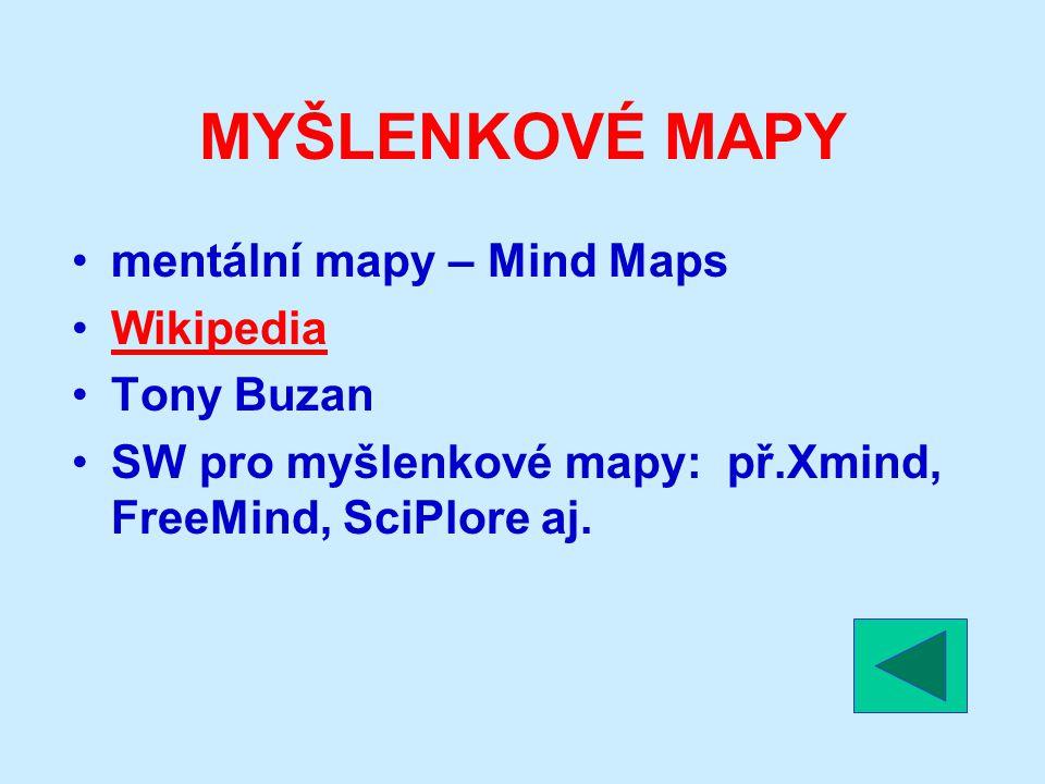 MYŠLENKOVÉ MAPY mentální mapy – Mind Maps Wikipedia Tony Buzan SW pro myšlenkové mapy: př.Xmind, FreeMind, SciPlore aj.