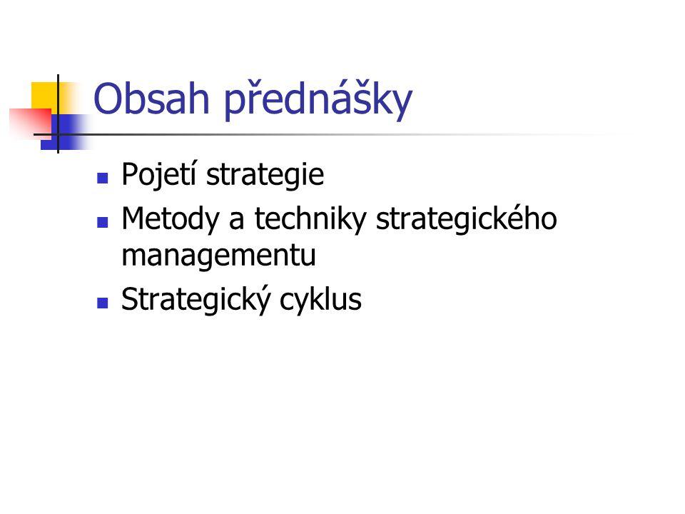 Obsah přednášky Pojetí strategie Metody a techniky strategického managementu Strategický cyklus