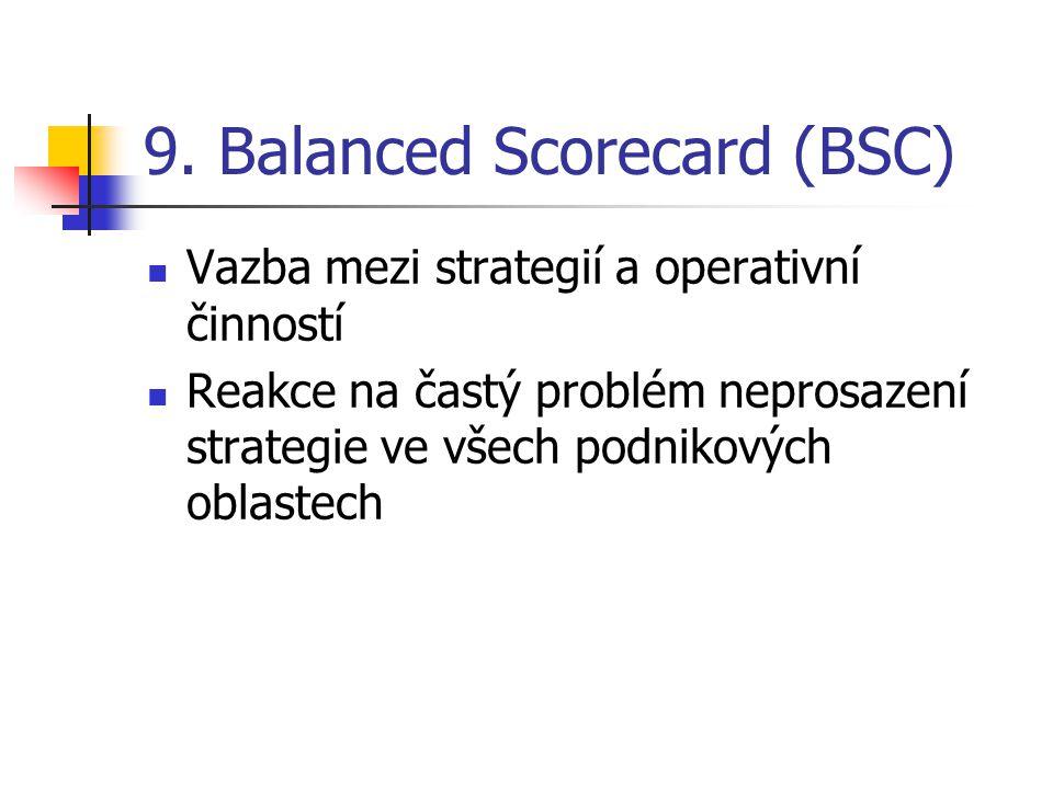 9. Balanced Scorecard (BSC) Vazba mezi strategií a operativní činností Reakce na častý problém neprosazení strategie ve všech podnikových oblastech