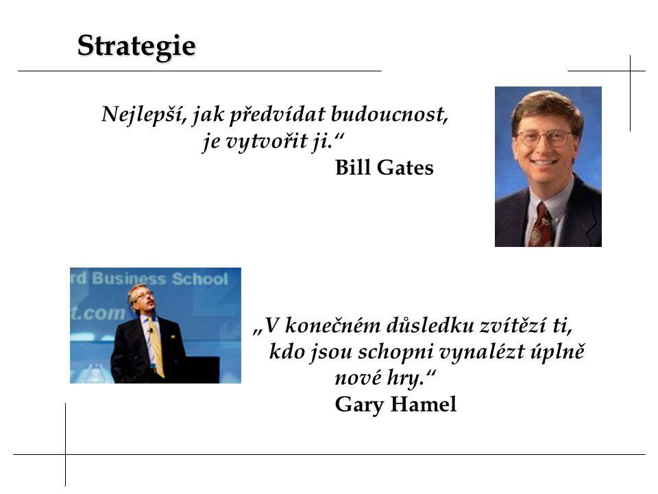 """Nejlepší, jak předvídat budoucnost, je vytvořit ji. Bill Gates """"V konečném důsledku zvítězí ti, kdo jsou schopni vynalézt úplně nové hry. Gary Hamel Strategie"""