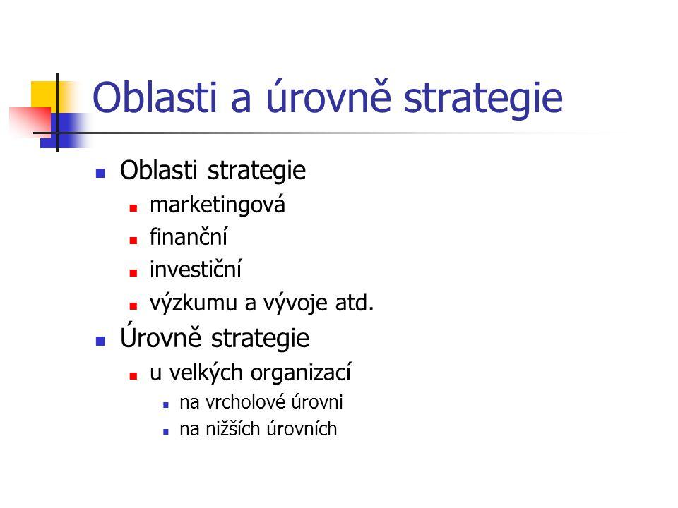 Oblasti a úrovně strategie Oblasti strategie marketingová finanční investiční výzkumu a vývoje atd. Úrovně strategie u velkých organizací na vrcholové