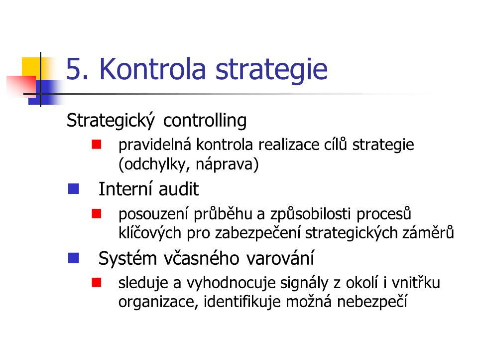 5. Kontrola strategie Strategický controlling pravidelná kontrola realizace cílů strategie (odchylky, náprava) Interní audit posouzení průběhu a způso