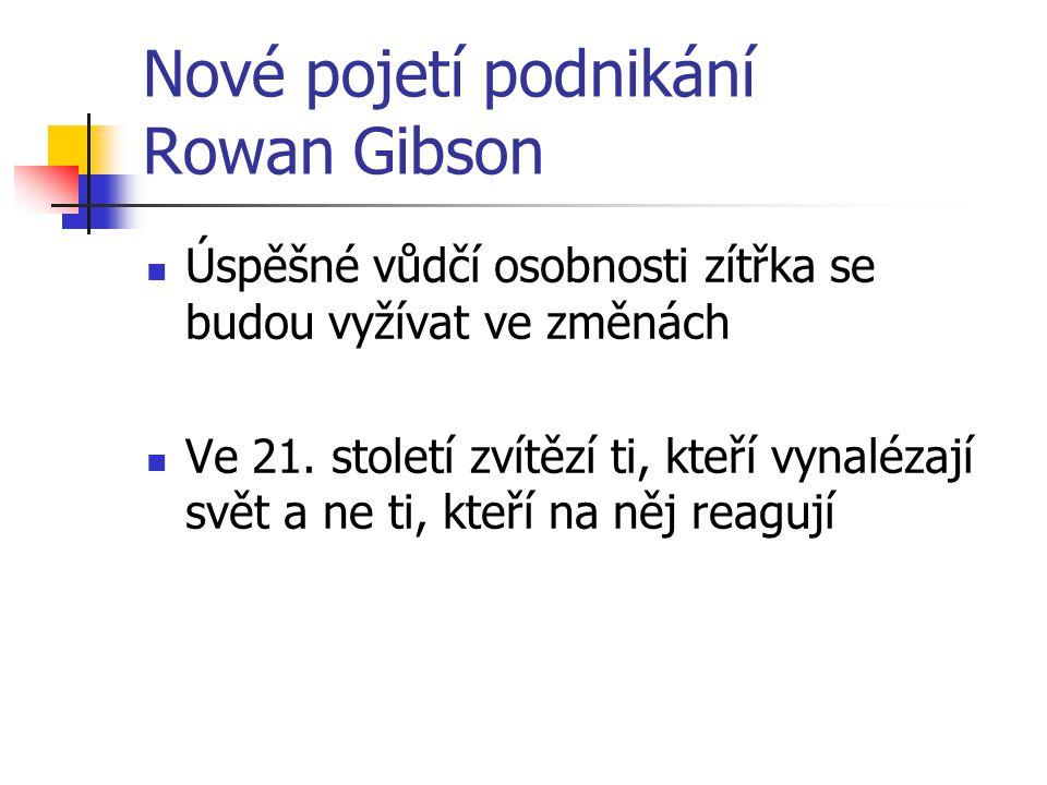Nové pojetí podnikání Rowan Gibson Úspěšné vůdčí osobnosti zítřka se budou vyžívat ve změnách Ve 21. století zvítězí ti, kteří vynalézají svět a ne ti