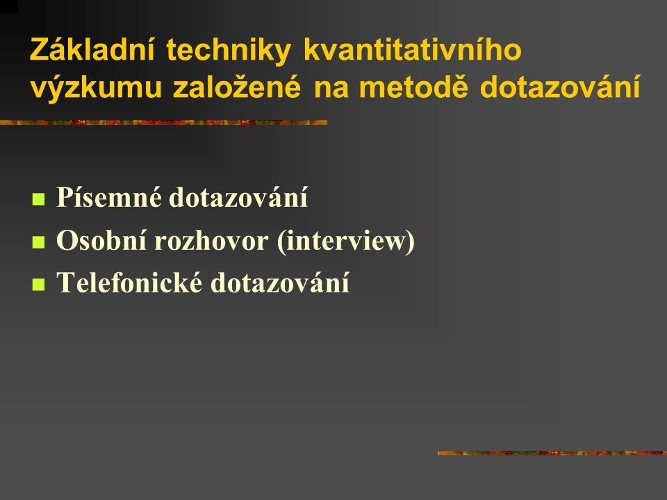 Základní techniky kvantitativního výzkumu založené na metodě dotazování Písemné dotazování Osobní rozhovor (interview) Telefonické dotazování
