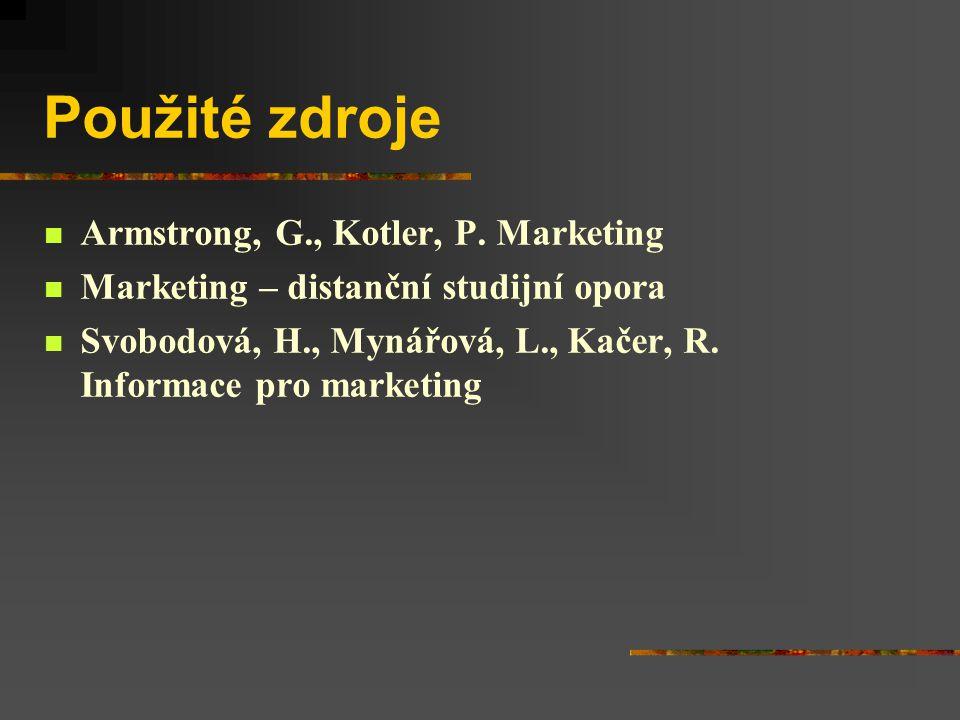Použité zdroje Armstrong, G., Kotler, P. Marketing Marketing – distanční studijní opora Svobodová, H., Mynářová, L., Kačer, R. Informace pro marketing