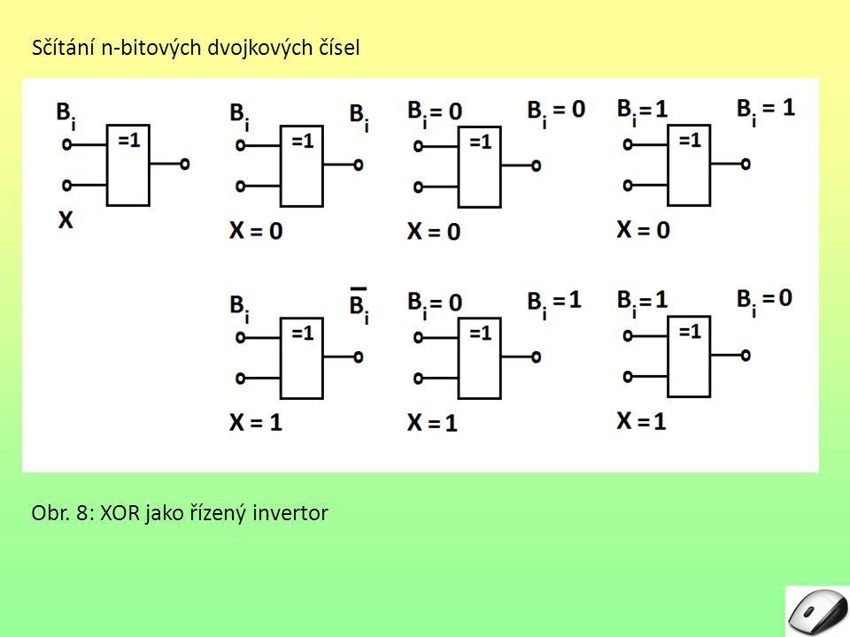 Sčítání n-bitových dvojkových čísel Obr. 8: XOR jako řízený invertor
