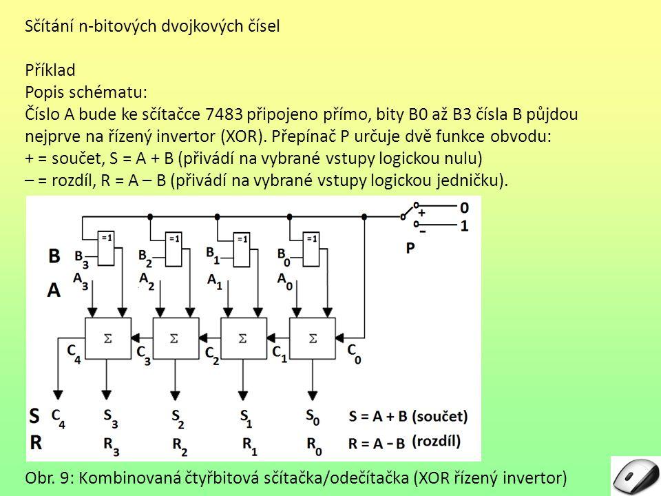 Sčítání n-bitových dvojkových čísel Příklad Popis schématu: Číslo A bude ke sčítačce 7483 připojeno přímo, bity B0 až B3 čísla B půjdou nejprve na říz