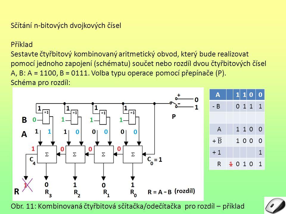 Sčítání n-bitových dvojkových čísel Příklad Sestavte čtyřbitový kombinovaný aritmetický obvod, který bude realizovat pomocí jednoho zapojení (schématu