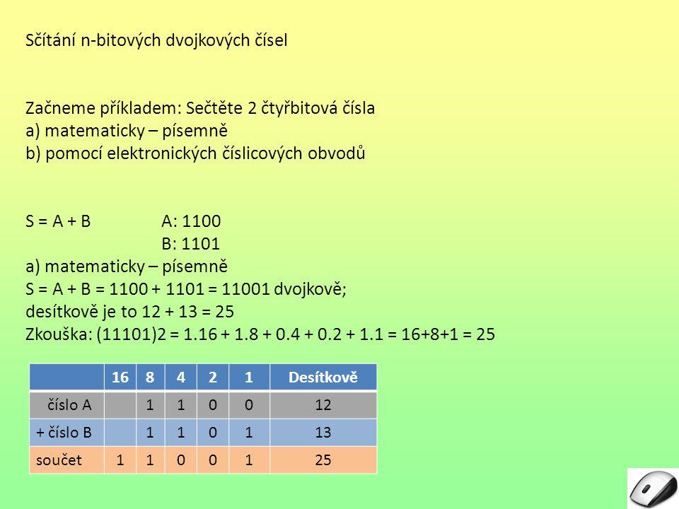 Sčítání n-bitových dvojkových čísel Začneme příkladem: Sečtěte 2 čtyřbitová čísla a) matematicky – písemně b) pomocí elektronických číslicových obvodů