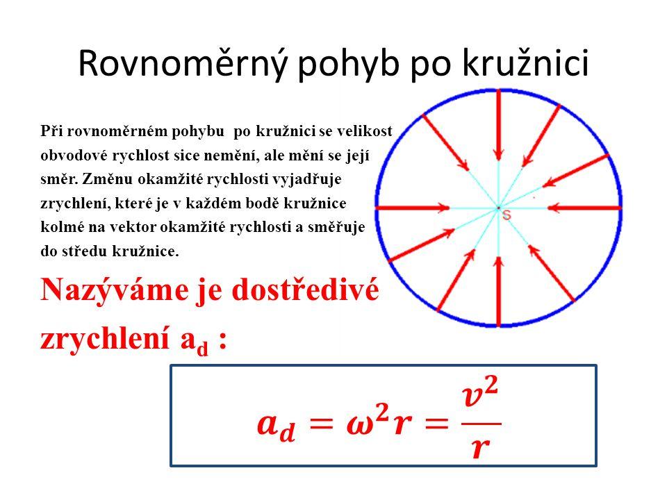 Rovnoměrný pohyb po kružnici Při rovnoměrném pohybu po kružnici se velikost obvodové rychlost sice nemění, ale mění se její směr. Změnu okamžité rychl
