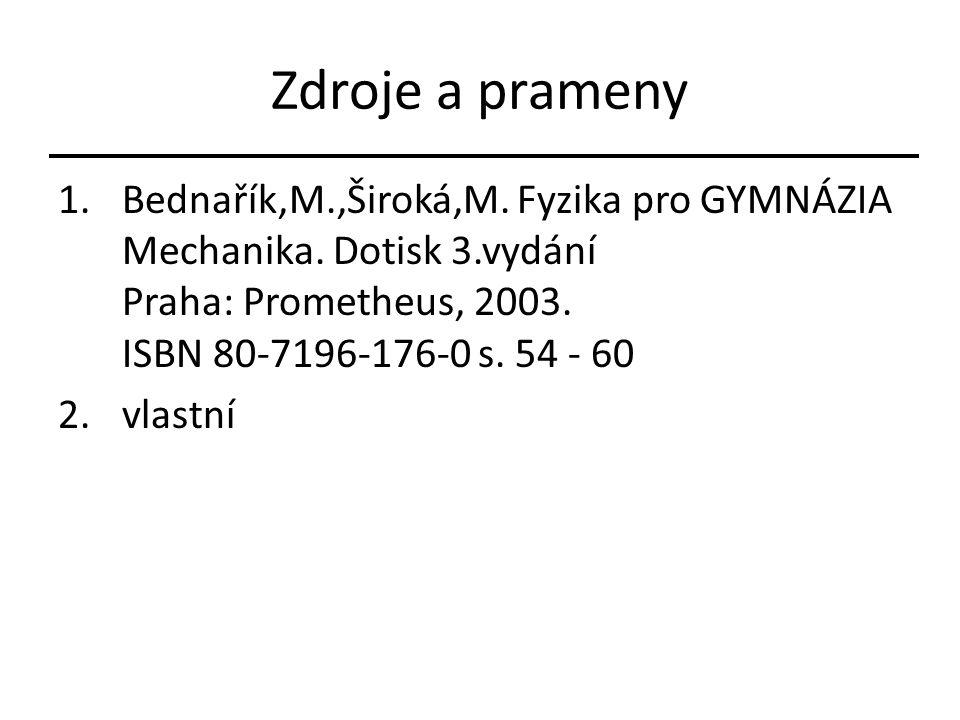 Zdroje a prameny 1.Bednařík,M.,Široká,M. Fyzika pro GYMNÁZIA Mechanika. Dotisk 3.vydání Praha: Prometheus, 2003. ISBN 80-7196-176-0 s. 54 - 60 2.vlast