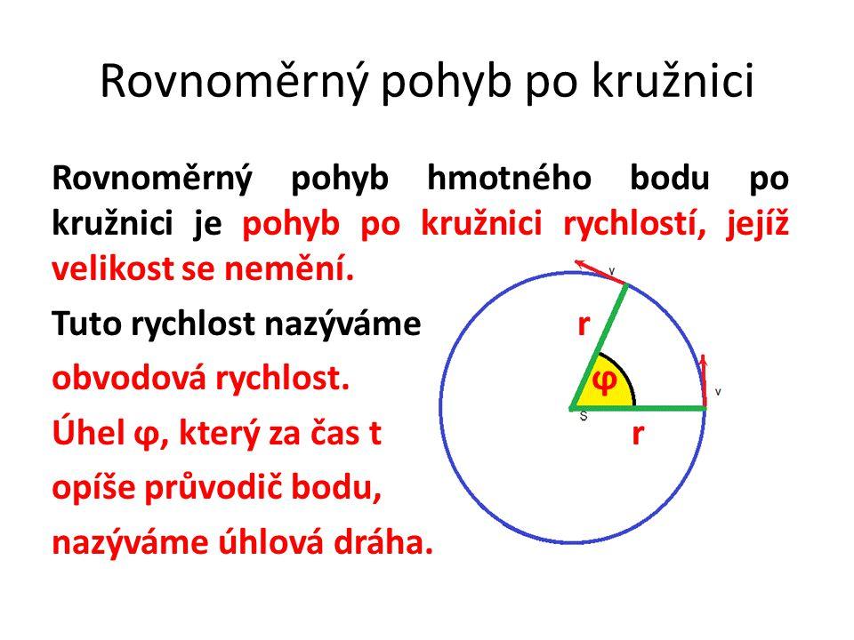 Rovnoměrný pohyb po kružnici Rovnoměrný pohyb hmotného bodu po kružnici je pohyb po kružnici rychlostí, jejíž velikost se nemění. Tuto rychlost nazývá