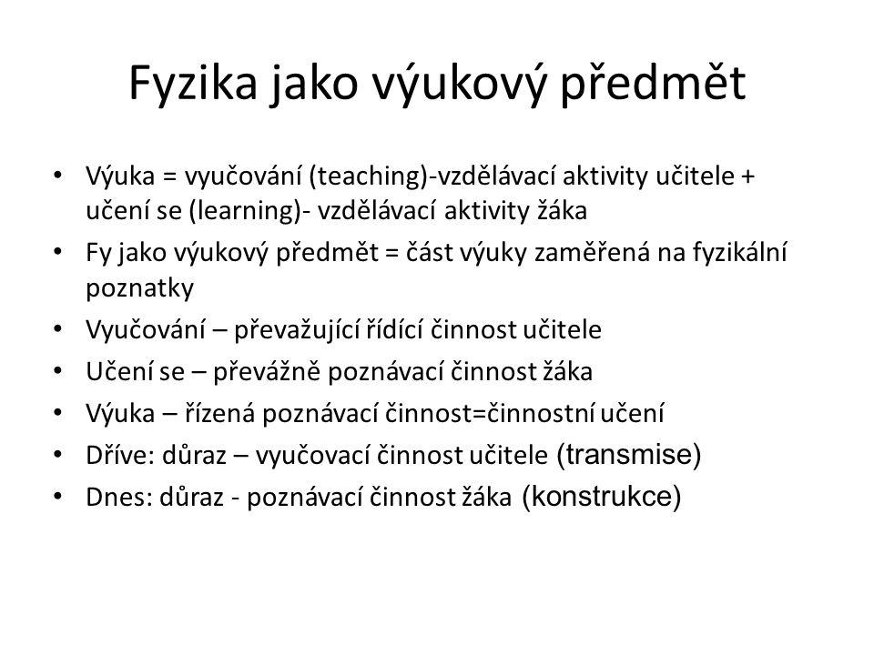 Fyzika jako výukový předmět Výuka = vyučování (teaching)-vzdělávací aktivity učitele + učení se (learning)- vzdělávací aktivity žáka Fy jako výukový p