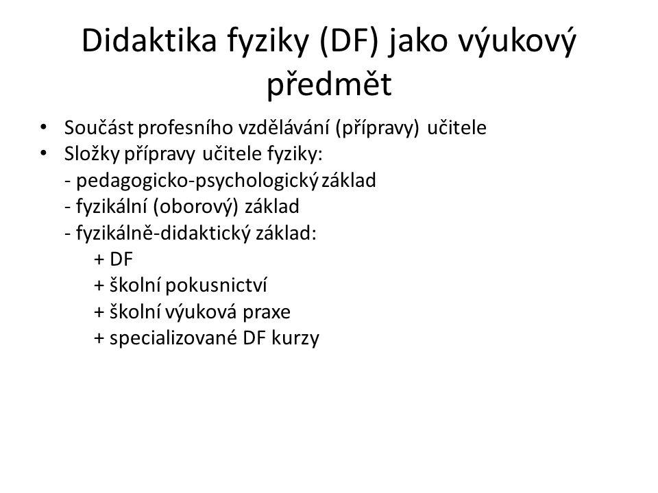 Didaktika fyziky (DF) jako výukový předmět Součást profesního vzdělávání (přípravy) učitele Složky přípravy učitele fyziky: - pedagogicko-psychologick