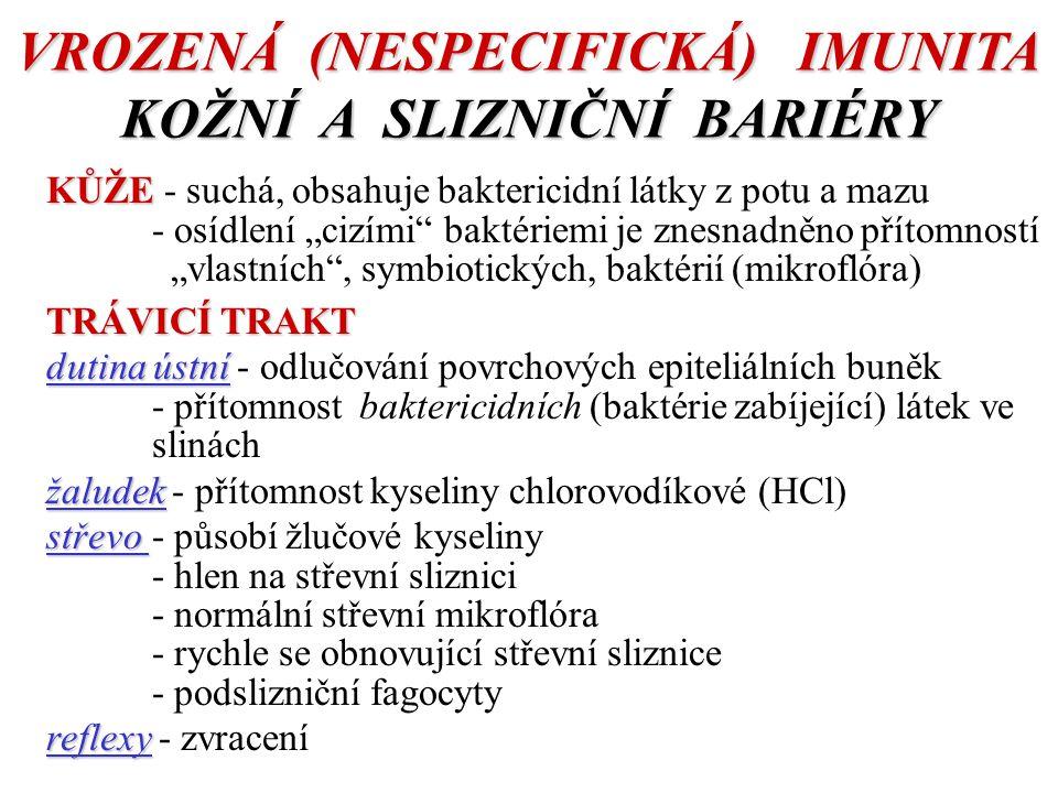 """VROZENÁ (NESPECIFICKÁ) IMUNITA KOŽNÍ A SLIZNIČNÍ BARIÉRY KŮŽE KŮŽE - suchá, obsahuje baktericidní látky z potu a mazu - osídlení """"cizími baktériemi je znesnadněno přítomností """"vlastních , symbiotických, baktérií (mikroflóra) TRÁVICÍ TRAKT dutina ústní dutina ústní - odlučování povrchových epiteliálních buněk - přítomnost baktericidních (baktérie zabíjející) látek ve slinách žaludek žaludek - přítomnost kyseliny chlorovodíkové (HCl) střevo střevo - působí žlučové kyseliny - hlen na střevní sliznici - normální střevní mikroflóra - rychle se obnovující střevní sliznice - podslizniční fagocyty reflexy reflexy - zvracení"""