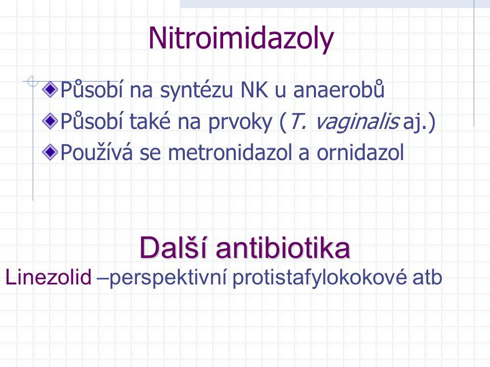 Nitroimidazoly Působí na syntézu NK u anaerobů Působí také na prvoky (T. vaginalis aj.) Používá se metronidazol a ornidazol Další antibiotika Linezoli