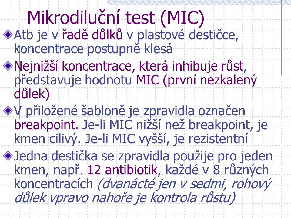 Mikrodiluční test (MIC) Atb je v řadě důlků v plastové destičce, koncentrace postupně klesá Nejnižší koncentrace, která inhibuje růst, představuje hod