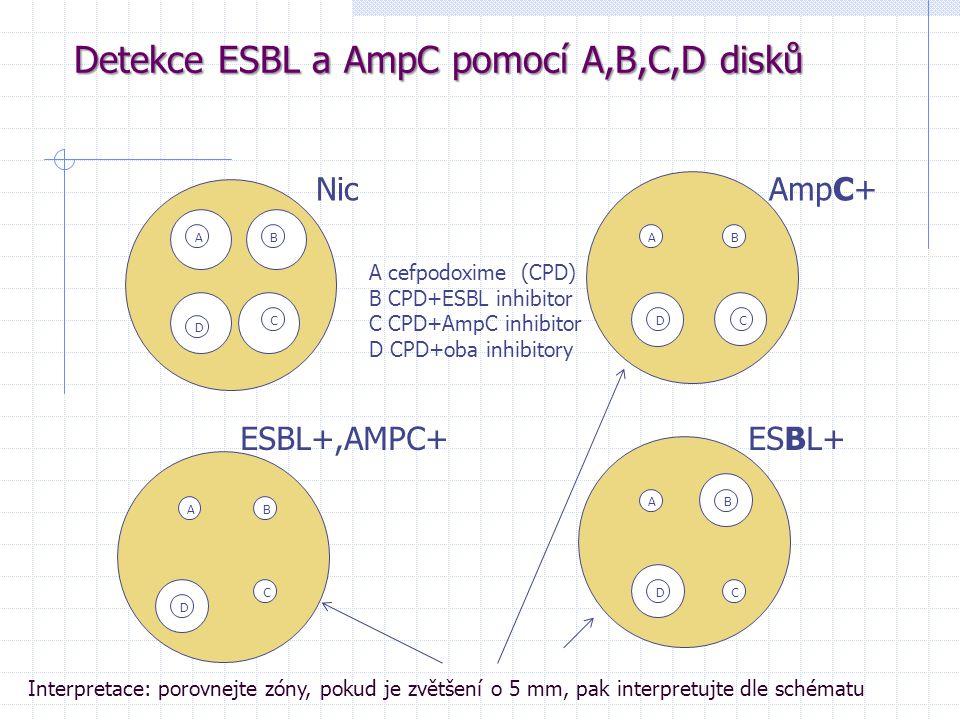 Detekce ESBL a AmpC pomocí A,B,C,D disků Nic AmpC+ ESBL+,AMPC+ ESBL+ ABB B B A A A D CDC C D DC A cefpodoxime (CPD) B CPD+ESBL inhibitor C CPD+AmpC in