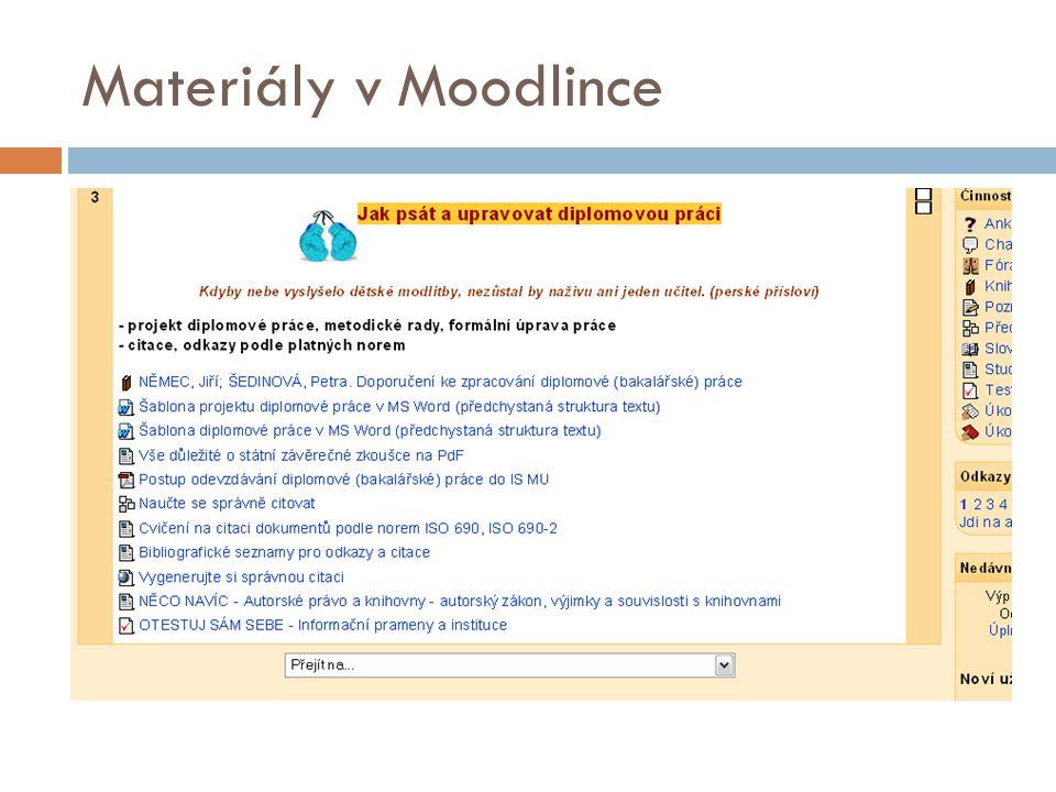 Materiály v Moodlince
