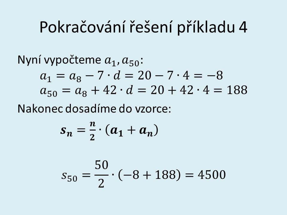 Pokračování řešení příkladu 4