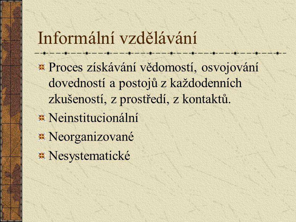 Informální vzdělávání Proces získávání vědomostí, osvojování dovedností a postojů z každodenních zkušeností, z prostředí, z kontaktů. Neinstitucionáln