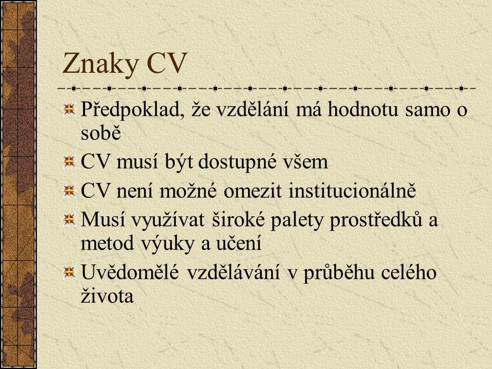 Znaky CV Předpoklad, že vzdělání má hodnotu samo o sobě CV musí být dostupné všem CV není možné omezit institucionálně Musí využívat široké palety pro